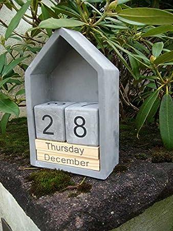 Ewiger Kalender, Tischkalender, Haus, schwer, Holz, Beton, grau ...