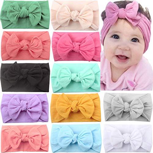 JOYOYO 12 diademas para bebe con lazos anchos, diademas elasticas y suaves para el pelo, accesorios para el pelo del bebe