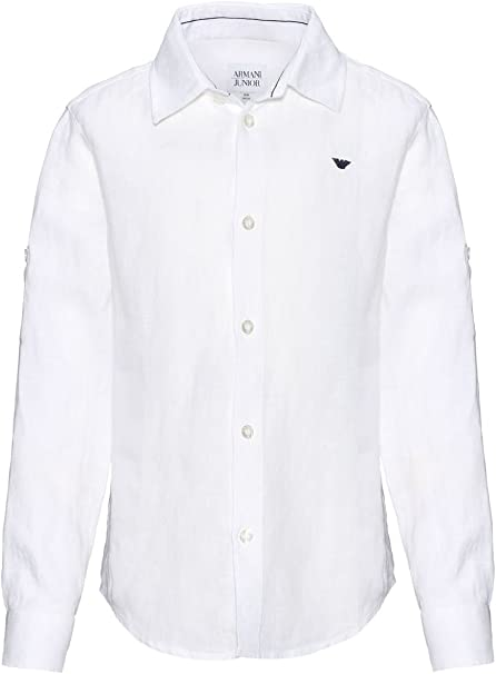 Armani - Camisa para niño (111 - 116 cm), color blanco: Amazon.es: Ropa y accesorios