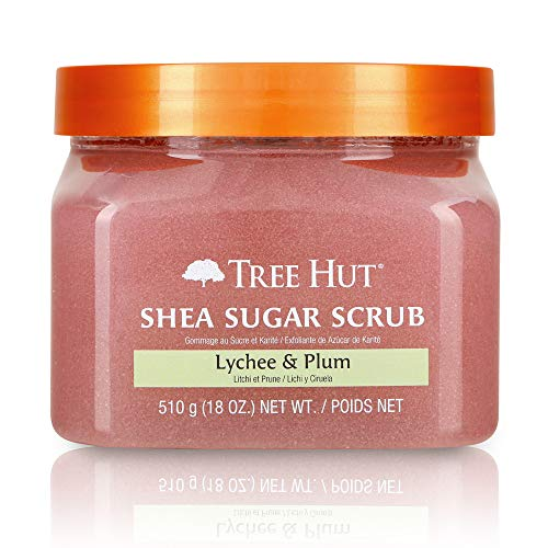 Tree Hut Shea Sugar Scrub Lychee & Plum, 18oz, Ultra Hydrating & Exfoliating Scrub for Nourishing Essential Body Care (Pack of 3)