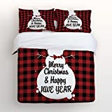 Libaoge 4 Piece Bed Sheets Set, Winter Snowman Merry Christmas and Happy New Year Red Black Buffalo Check Plaid Print, 1 Flat Sheet 1 Duvet Cover and 2 Pillow Cases