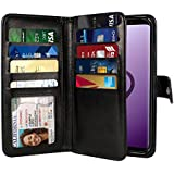 NEXTKIN Galaxy S9 Case, Leather Dual Wallet Folio TPU Cover, 2 Large Pockets Double flap Privacy, Multi Card Slots Snap Button Strap For Samsung Galaxy S9 5.8 inch - Black