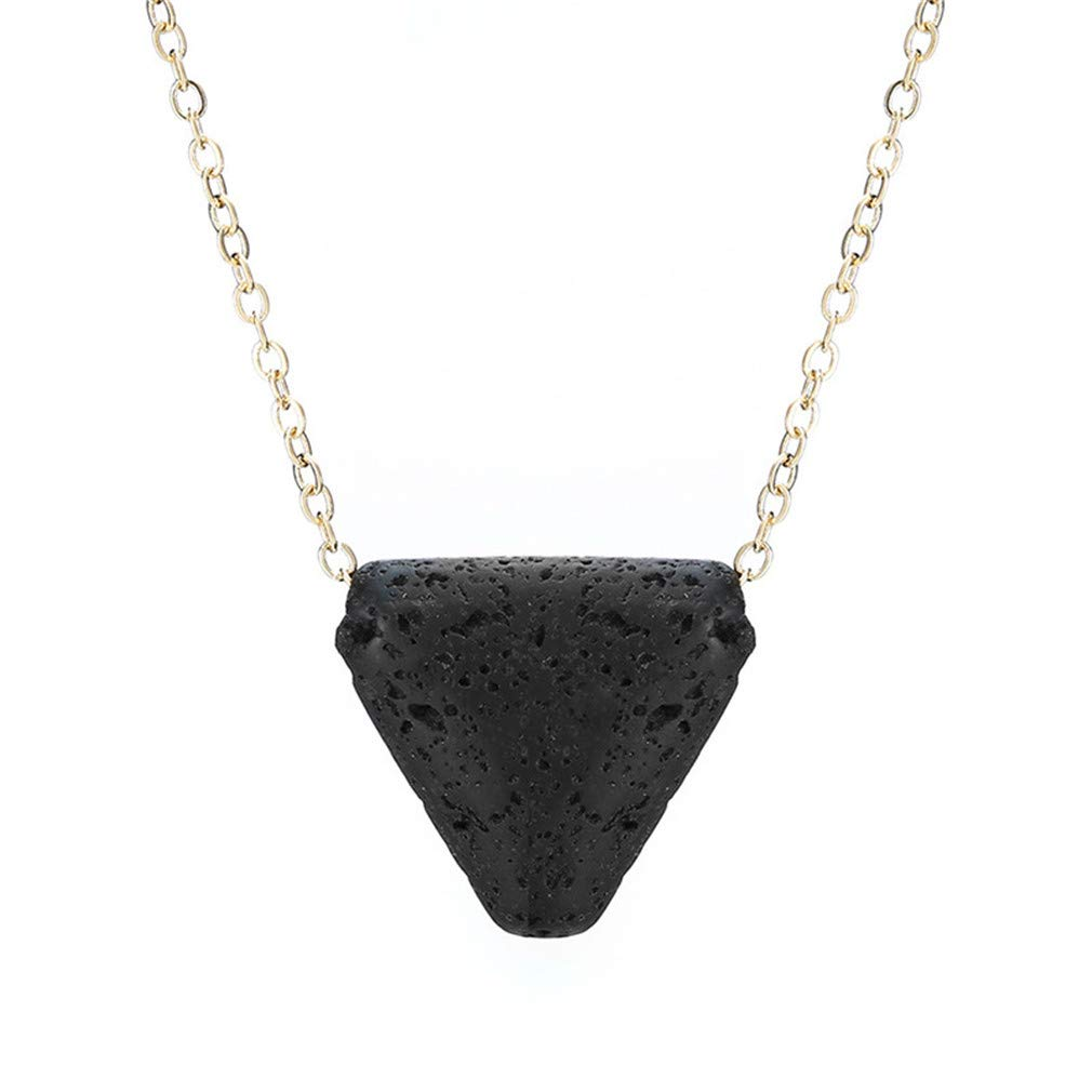MOONQING Ball Pendant Necklace Triangle Pendant Necklace Geometry Necklace Lava Bead Necklace,2#