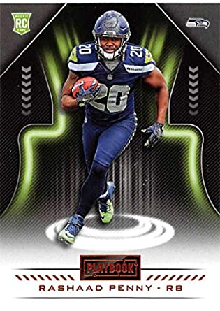 2018 Playbook Orange Parallel Football  142 Rashaad Penny Seattle Seahawks  Rookie Official NFL Card Produced 71de5d902
