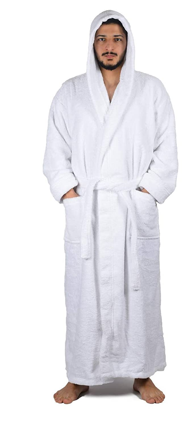 Arvec Mens Combed Turkish Cotton Terry Full Ankle Length Hooded Bathrobe