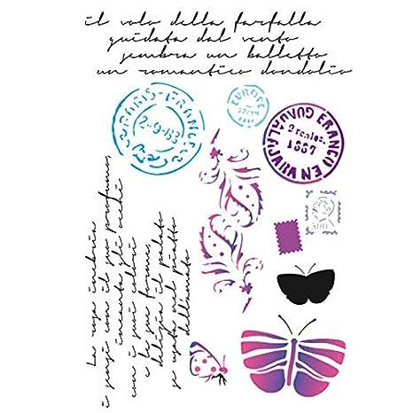 Stamperia Plantilla de stencil, motivos Matasellos, sellos, mariposas y caligrafía Multicolor Taglia unica: Amazon.es: Hogar