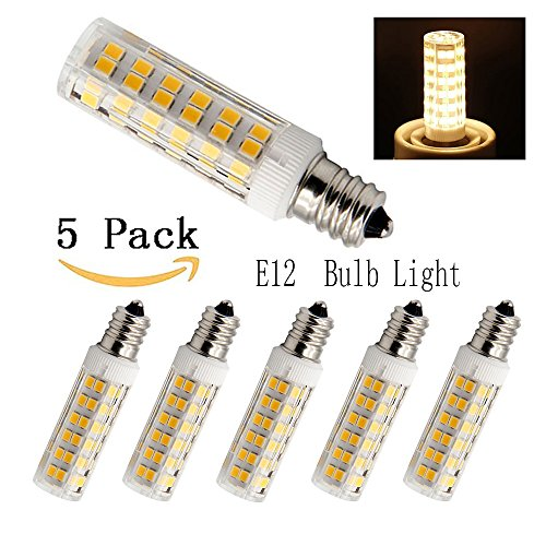5W Dimmable E12 Candelabra LED Bulbs, 50W Equivalent 3000k Warm White T3/T4 Candelabra E12 Base, Omni-directional E12 Replacement Bulb for Ceiling Fan Chandelier Landscape Lighting (Pack of 5)