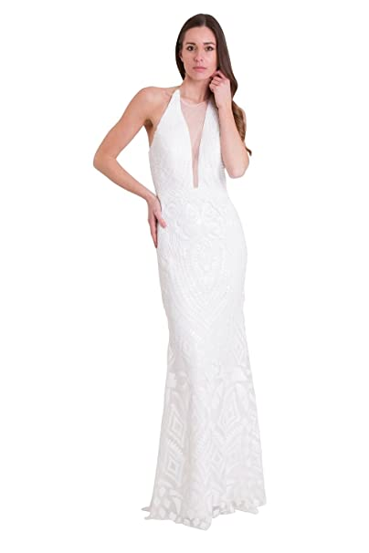 bb853d682ec8 Jessica Stuart White 32395 Sequin Detailed Deep V Halter Neck Dress (US2  UK6