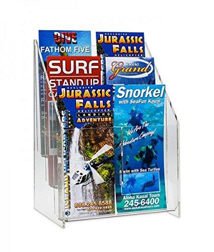 Source One 4 Pack Premium 6 Pocket Multi Brochure Holder Literature Display Clear Acrylic (S1-MLS-6) - Multi Pocket Brochure Holders