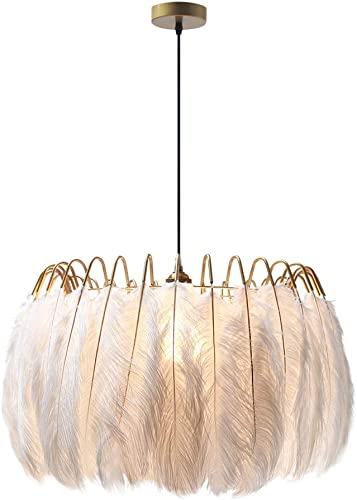 Modo Lighting White Feather Chandelier Minimalist Decor Pendant Light for Bedroom 23