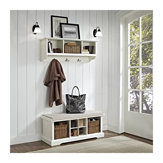 Crosley Furniture  Brennan Entryway Storage Bench and Hanging Shelf Set, White - Solid Hardwood and Veneer Construction Variety of Colors to Match any Décor Includes Two Wicker Storage Baskets - hall-trees, entryway-furniture-decor, entryway-laundry-room - 51RQYCGYgaL. SS570  -