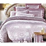 GL&G High-grade Tiansi satin cotton European Jacquard wedding comfortable soft breathable bed four sets (quilt Cover × 1PC, Bed Sheet × 1PC, Pillowcase × 2PCS),a2,1.8m(6ft) bed