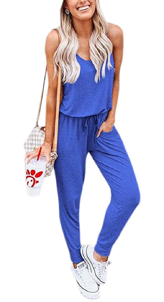 YIhujiuben Womens Leisure Solid Color Comfy Pockets Jumpsuits Rompers