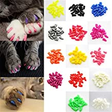 New 20Pcs/Lot Soft Pet Cat/Dogs Paws Grooming Nail Claw Cap+Adhesive Glue Control Paws Caps Cover Protector Christmas Gift^as picture.XL