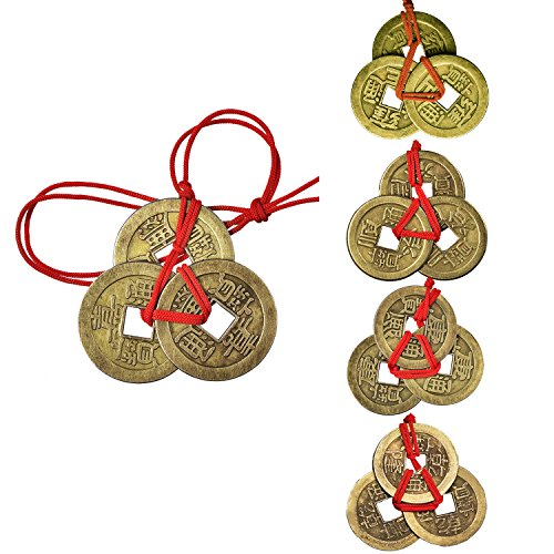 Pangda 5 Sets Chinese Coins Fortune Coin Feng Shui Coins Lucky Coins I-Ching Coins with Red - Talisman Money Coin Lucky
