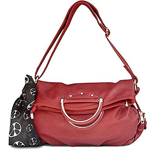 Fold Over Satchel (Peach Couture Classic Versatile Large Fold-over Satchel Handbag Shoulder Bag Red)