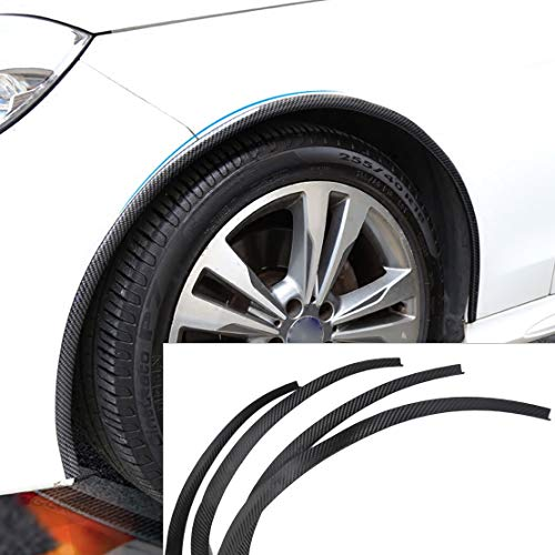 SalaBox-Accessories – 4 pcs Carbon Fiber Car Wheel Rubber Eyebrow Protector Lip Arch Trim Flare Fender Strip for Ford Audi BMW Kia Mazda Toyota