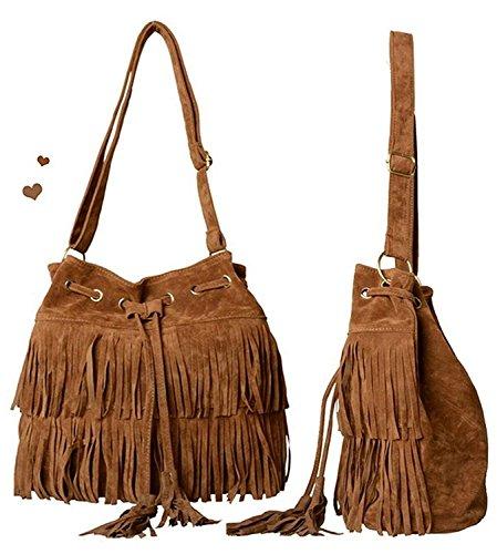 9fef0e3ea8 Minetom Nappe Borsa A Tracolla Borsa Faux Suede Cross-body Shoulder delle  nuove donne di modo delle borse del sacchetto ( Marrone ): Amazon.it: Sport  e ...