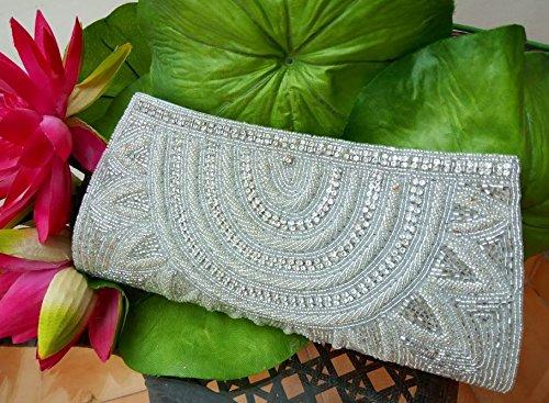 Vintage Purse, white Beaded Purse, Ramadan Gift, Bridal Bag, Evening Bag, Beaded Handbag, Beaded Wallet, Beads