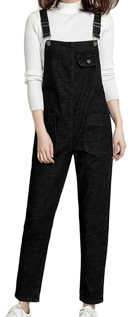 Pandapang Womens Loose Fit Jeans Large Size Rompers Jumpsuits Denim Overalls