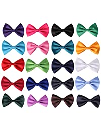 20pcs Pre-tied Bow ties,Solid Color Adjustable Bow Tie Collection, For Kids And Boys - 20 Mixed Color