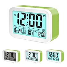 Talking Alarm Clock,Coresto Digital Clock with 3 Alarms for Optional Weekday Mode,4.5'' Display, Smart Backlight,Loud Alarm Clock for Kids and Family(Green)