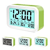 Coresto Multi-Function Digital Clock with 3 Alarms, Optional Weekday Alarm,Snooze and Sensor Light Loud Alarm Clock for Kids And Family (Green)