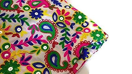 Amazon Com Indian Fabric Raw Silk Fabric Kutch Fabric Embroidered