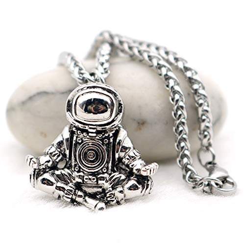 Astronaut Pendant Necklace | Galaxy Universe Spaceman Meditation Trinket Stainless Steel Chain | Men -