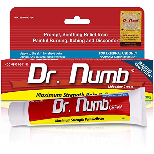 1 Tube of Dr. Numb Maximum Strength Topical Anesthetic Anorectal Cream | Pain Relief Cream for Tattoo, Piercing, Microneedling, Microblading, Waxing, Dermarolling, Hemorrhoid Treatment, Hair Removal]()