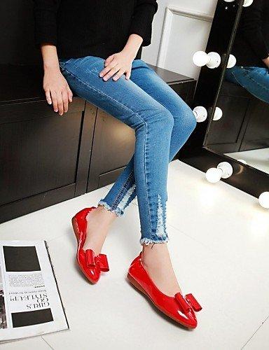 de sintética Flats PDX rosa eu38 punta zapatos cn38 redonda 5 plano mujer us7 piel 5 talón comodidad Casual pink uk5 rojo de dqwPOXgxrw