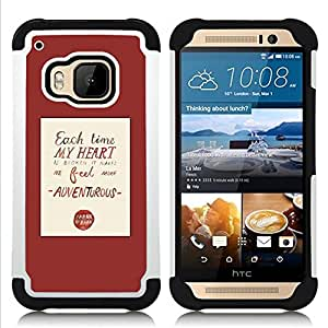 For HTC ONE M9 - heart love quote red poster text Dual Layer caso de Shell HUELGA Impacto pata de cabra con im??genes gr??ficas Steam - Funny Shop -