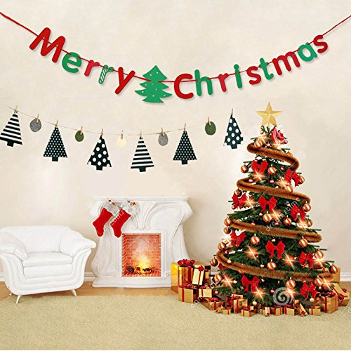 Merry Christmas Banner, Tree Hanging Flag Ornament Gift,Bunting Garland for Xmas Party Holiday Home kid Room Decorate Indoor Wall Fireplace Decor with 3meter Rustic Rope Mantel cabinet ()