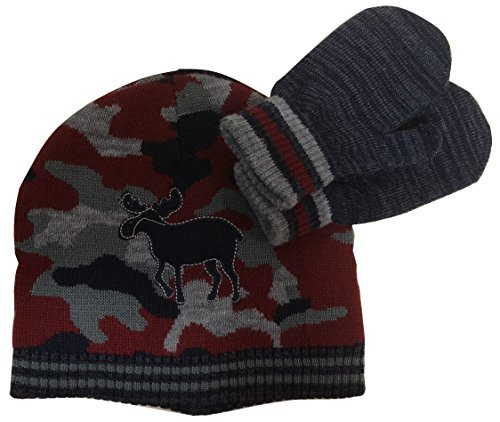 Little Me Little Boys Reversible Camo Knit Hat Mitten Set, 2-4T