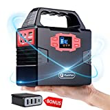 12 volt solar panel and fan - Portable Emergency Power Station Generator Supply for CPAP Camera Drone Laptop DC to AC Inverter Power Bank Charged by Solar Panel/Wall Outlet/Car with 3 USB & Type-C Port Wall Charger (Generator)