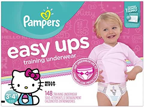 Pampers Easy Ups Disposable Training Underwear Girls 3T-4T (Size 5), 148 Count (One Month Supply) -- Packaging May Vary