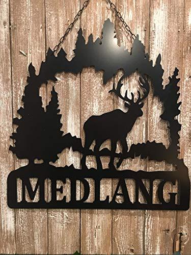 (Metal Deer Scene Last Name Sign 24