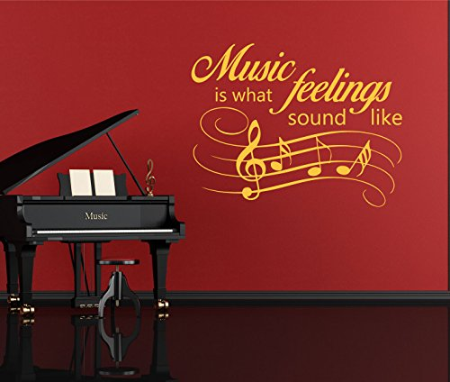 Music Quote Wall Decals - Music is What Feelings Sound Like - Gifts For Music Lovers, Vinyl Wall Art Music, Music Sayings For the Home or Music Room, Music Teacher (Halloween Teacher Gift Sayings)