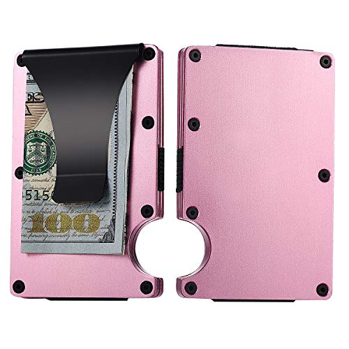 (Aluminum Pink Wallet RFID Credit Card Holder with Money Clip Minimalist Slim Small Wallet Card Case for Men Women)