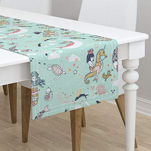 Table Runner - Mermaid Mermaid Lullaby Mint Nautical Nursery Decor by Nouveau Bohemian - Cotton Sateen Table Runner 16 x 90