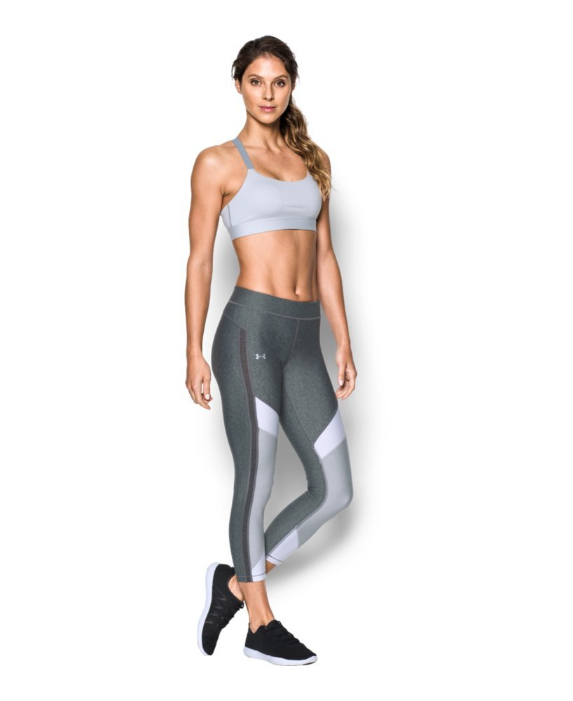 Under Armour Women's HeatGear Color Blocked Ankle Crop, Carbon Heather /Metallic Silver, Small by Under Armour (Image #3)