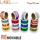 """LABEL&MORE Removable Home Moving Labels Box and Packing Labels 1x4-1/2"""" Color Coded Stickers Moving Supplies, Essential for Moving Furniture and Organizing Stuffs [800 Counts]"""