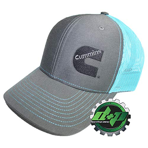 Diesel Power Plus Cummins Richardson Ball Cap hat Summer mesh snap Back Teal Blue and Gray