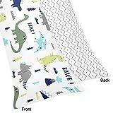 Sweet Jojo Designs Blue and Green Modern Dinosaur/Grey Chevron Prehistoric Print Full Length Double Zippered Body Pillow Case Cover