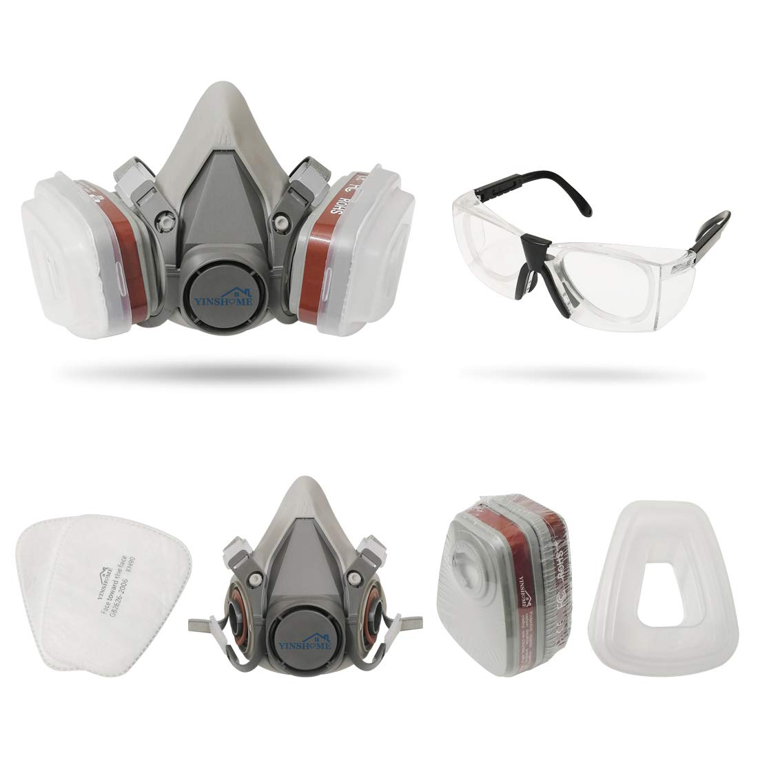 Yinshome Respirator Mask(Plus Safety Glasses)-Gas Mask with Dual Filter Cartridges for Breathing Eye Protection Against Dust,Organic Vapors, Chemicals-Paint Respirator for DIY projects by YinsHome (Image #2)