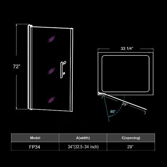 Elegante duchas semi-frameless Pivot Swing para mampara de ducha, cristal transparente, acabado cromado, varios tamaños para elegir.: Amazon.es: Bricolaje y herramientas