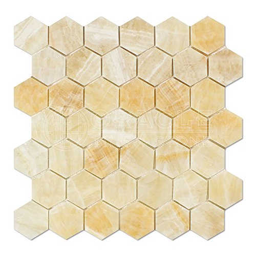 Honey Onyx 2 inch Hexagon Mosaic Tile, -