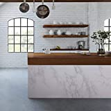 practicalWs Marble Contact Paper Granite Gray/White Roll Kitchen countertop Cabinet Furniture is renovated Thick PVC Easy to Remove Without Leaving Marks Upgrade