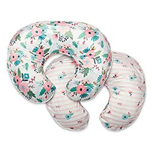 Boppy Boutique Pillow Cover, Pink White Floral Duet, Minky Fabric in a fashionable two-sided design, Fits ALL Boppy Nursing Pillows and Positioners