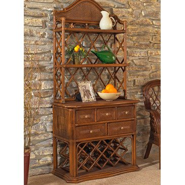 (Boca Rattan Regency Bakers Rack w/ Wine Rack in Urban Mahogany)